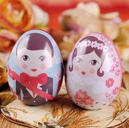 Wholesale Bride Groom Boxes - Egg Shape Bride and Groom Tin Box Gift Packing Candy Box Wedding Favors And Gifts Party Souvenirs wen4651