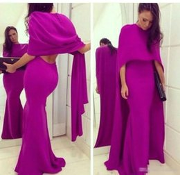 Wholesale Fuschia Pink Dresses - Fuschia Chiffon Mermaid Arabic Evening Party Dress With Cape 2017 Sexy Backless Plus Size Formal Prom Occasion Gown Vestidos De Novia Cheap