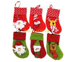 Wholesale Christmas Stocking Holders Wholesale - 500pcs lot Free Shipping New Arrival Santa Claus Christmas Stockings Gifts Candle Holders Christmas Tree Decorations