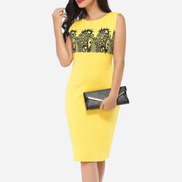 Vestido lápiz amarillo sin mangas online-Nuevas mujeres Vestido ajustado amarillo con cuello redondo Moda sin mangas sexy Falda lápiz Delgado Hasta la rodilla Vestido estampado casual para mujer C65