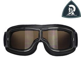 Wholesale Leather Motorcycle Goggles - 2016 Hot Sale Black Frame Vintage Harley Style Motorcycle Goggles Pilot Motorbike Goggles Retro Jet Helmet Eyewear 4 color lens