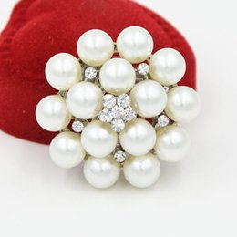 Wholesale Ladies Clothes Wholesalers China - Silver Tone High Quality Imitation Pearl Crystals Pretty Flower Brooch Wedding Bouquet Bridal Broach Lady Party Clothes Jewelry Accessories