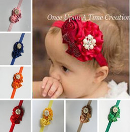 Wholesale Elastic Bows For Gifts - 2016 Fashion Elastic Children Baby Girls infant newborn Rhinestone Headband Cute Sequins Bow Baby Girl Hair Accessories For Baby Gift