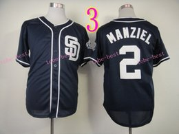 2017 johnny manziel jerseys San Diego Padres Jersey 2 Johnny Manziel Maillots Blanc Gris Bleu Cool Base Stitched Authentic Baseball Jersey Broderie Logo johnny manziel jerseys pas cher