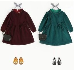 Wholesale Long Velvet Dresses Girls - Kids dresses sweet Girls velvet ruffle collar party dress 2018 new Spring Children long sleeve bows princess dress green wine red C2461