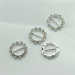 Wholesale Wholesale Jewelry Supply China - 16mm Round Rhinestone Crystal Buckles Brooches 10mm Bar Invitation Ribbon Chair Covers Slider Sashes Bows Buckles Wedding Supplies Jewelry