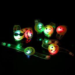 Wholesale Cute Kids Bracelets - Kids LED Emoji Charm Bracelets Cartoon Smiley Face Light-Up PVC Soft Rubber Wrist Band Cute Novelty Birthday Party Christmas Gift