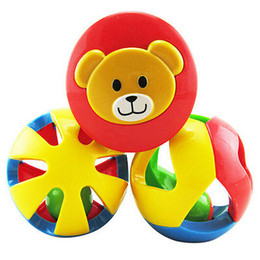 Wholesale Musical Instrument Toy Set - Wholesale- 3 Bell Ball baby Boy girl Baby Hand Shaker Toy Bell Jingle Ball Shape Infant Musical Instrument Fun Toys Gifts