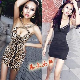 Wholesale Women Burst Milk - Nice Fashion Sexy Party Dresses Clubbing Dresses For Women Short prom Clothing Slim Bodycon Metal chain backless sexy low-cut burst milk was