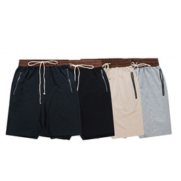 Wholesale Harems Men - Wholesale-Fear of god shorts men's casual sprt baggy hip hop harem shorts bermuda men kanye west justin bieber zipper pocket jogger