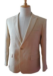 Wholesale Linen Suits For Men Wedding - Wholesale- Custom made Bridegroom Groom Linen Suit Men Casual Linen Blazer Men Linen Suits For Wedding Tuxedos red blue pink purple beige
