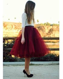 Wholesale Knee Length Yellow Skirts - 2016 Burgundy Red Women Tulle Skirts Charming Knee Length Tutu Skirt New Elegant Simple Midi Skirt For Ladies