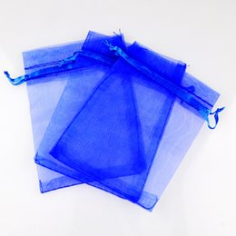 "Wholesale Gift Wrapping Bags Wholesale - Royal Blue Organza Drawstring Pouches Jewelry Party Small Wedding Favor Gift Bags Packaging Gift candy Wrap Square 5cm X7cm 2"" X2.75"" 100pcs"