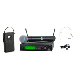 Wholesale Wireless Headset Microphone System Uhf - UHF PRO Wireless Microphone System SLX24  SLX1  BETA58 Handheld + Lapel + headset Vocal Mic for Stage Karaoke DJ