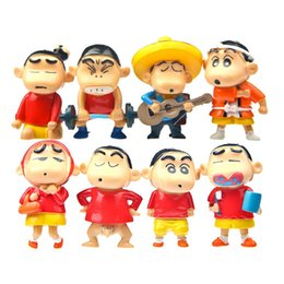 Wholesale Chan Wholesale - 8pcs set Japanese Cartoon Dolls Naughty Crayon Shin-chan Toys PVC Action Figures Model for Children Gifts