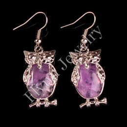 Wholesale Purple Copper Turquoise Earrings - Amethyst Tigerite Opal Turquoise etc Natural Stone Oval Bead Animal Owl Dangle Earrings Charm European Fashionable Jewelry 10Pairs
