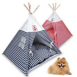 Wholesale Pet Dog Tent Kennel - High Quality Pet Tent Dog Kennel Navy Striped Teepee Tent Cat Dog Bed Puppy Kitten Play House with Sleeping Pad JJ0036
