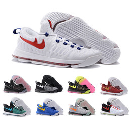 Wholesale Kevin Durant Orange Trainers Low Cut - High Quality Women & Men Air Barefoot Sneakers Kevin Durant 9 Basketball Shoes Femme & Homme Trainers KD 9 Sports Zapatos Size 36-46 Eur