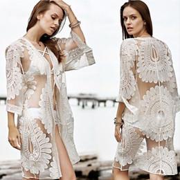 Wholesale Bohemian Swimwear - 2017 New Bikini Beach Cover Ups Women Sexy Summer Lace Cardigan Blouses Vacation Shirts Hollow Out Crochet Bohemian Beachwear Swimwear Tops