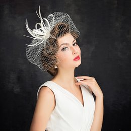 Wholesale Vintage Feather Headpieces - 2017 Vintage Hat Pure White Feather Organza Headpiece Head Veil Wedding Bridal Accessories Party Women Hats Bride Hat