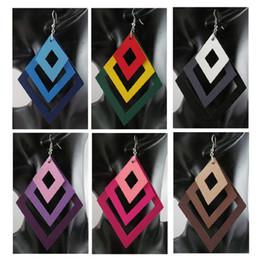 Wholesale Rhombus Earrings - Rhombus Wooden Wood Fashion European Women Earrings Free Shipping Wholesale 6 Colors Mixed #WS1