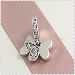 Wholesale Lampwork Glass Butterfly Necklace - 2016 Spring 925 Sterling Silver Fluttering Butterflies Pendant Charm Bead with Clear Cz Fits European Jewelry Bracelets & Necklace