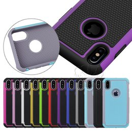 Wholesale Slim Armor Cases - for iPhone 8 X 7 6 5 4 Samsung Sony HTC Hybrid Rugged Impact Heavy Duty Impact Slim Armor Hard Case Cover Skin