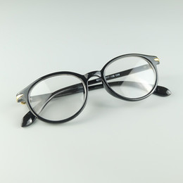 Wholesale Solid Hinges - Wholesale Simple Full Round Plastic Rim Eyeglasses Fashion Girl Optical Frame With Metal Hinge 20pcs Lot