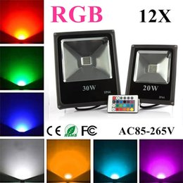Wholesale Waterproof Color Changing Flood Light - 12X Led Flood Light RGB 10W 20W 30W 50W Led Floodlights Waterproof Led Outdoor Lights Color Changing AC 85-265V + Remote Control