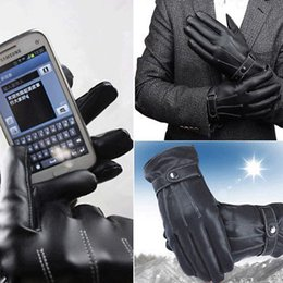 Wholesale Men Black Winter Gloves - 2PCS Pair 3 Line Brand Wholesale Mens Luxurious PU Leather Thick Winter Button Touch Screen Cashmere Gayly Gloves Glove Black Riding YYA379