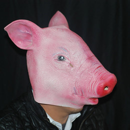 rubber latex costumes Coupons - Wholesale-Halloween Magical Creepy Adult Pig Head Latex Rubber Mask Animal Costume Prop Toys