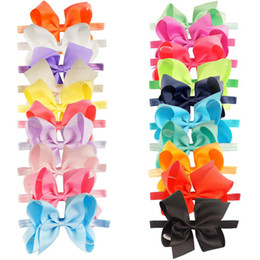 Wholesale Headband Baby Ribbon Bows - 20 Pcs lot New Fashion Handmade Boutique Solid Ribbon Bow Headband For Baby Girls Toddler Plain Headband Hair Accessories
