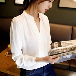 Wholesale Elegant Women Long Sleeve - 2016 Autumn Women Chiffon Shirt Blouse Ladies Elegant V-neck Long Sleeve Shirts Female Office Shirt Free Shipping
