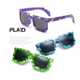 Wholesale Minecraft Kids - Mosaic Sun Glasses Vintage Square Novelty Pixel Sunglasses Kids and Adults Trendy Minecraft Glasses 4 Colors OOA2776