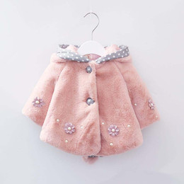 Wholesale Warmer Poncho Baby - Baby Infant Girls Fur Winter Warm Coat Cloak Jacket Thick Warm Clothes Baby Girl Cute hooded Rabbit ear flower outwear