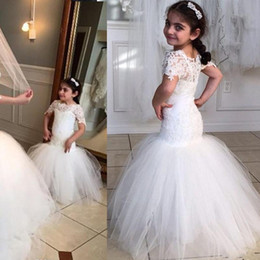 Wholesale Christmas Lights Charmed - Charming 2016 White Lace And Tulle Mermaid Flower Girls Dresses For Weddings Cheap Bateau Short Sleeve Long Pageant Dress Custom Made