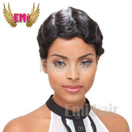 Wholesale Celebrity Heat - Synthetic Cheap Heat Resistant Synthetic Short Cut Wig Natural Black Straight Short Pixie Hair Wigs For Black Women Celebrity
