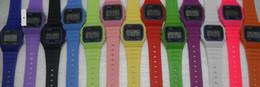 Wholesale Clock Led Woman - free shipping Men women F-91W watches f91 fashion Ultra-thin LED watches alarm clocks 13color 12pcs lot