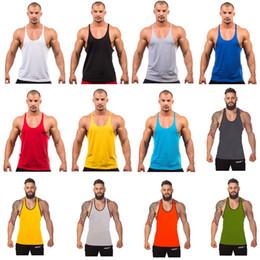 2019 camisas livres do bodybuilding 12 Cores de Algodão Stringer Musculação Equipamento de Fitness Gym Top Regata Sólida Singlet Y Volta Esporte roupas Colete Navio Livre A-0383 camisas livres do bodybuilding barato