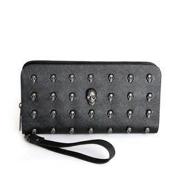 Wholesale Nylon Leather Handbags - Vintage Women Men Wallet Skull Punk Leather Wallets Purse Fashion Mens Femalle Man Rivet Clutch Wallets Purses Long Handbag
