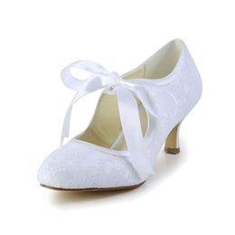 Wholesale White Bridal Wedge Heels - 2016 Vintage Style 8cm Heel Pump Elegant Style Bridal Shoes Wedding Dress Shoes Handmade Shoes for Wedding From Size35-42 Free Shipping
