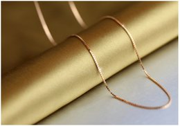 Wholesale Sterling Silver Rose Quartz - 18K rose gold plated silver jewelry fashion wild tide 18inch 1.2mm rose gold box chain pendant retro minimalist accessories