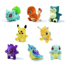 Wholesale Pokemon Dragonite Toy - 8 Style Cartoon Poke Pocket Monsters Figure Plush Doll Toy 12-17CM Pikachu Charmander Gengar Bulbasaur Suicune Dragonite Snorlax Figure Toy