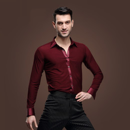 Wholesale Samba Shirts - 2016 Tango Dress Latin Bordeaux Man Latin Dance Shirt Male Long Sleeves Samba Lumba Adult Modern Clothes Wine Top