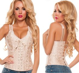 Wholesale White Bridal Bustier Xl - Vintage Gothic Lace Up Corset Hot Sale 2017 Elegant Apricot  White Brocade Bridal overbust corsets with straps and bustiers LC5377