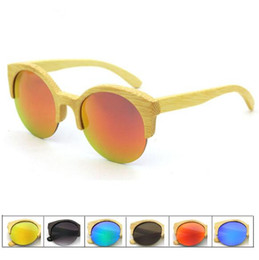 Wholesale Wood For Frames Wholesale - 5 Colors Round Eyewear Bamboo Wood Sunglasses Personality Sunglasses for Unisex Luxury Brand Half Frame Glasses Without Case CCA7756 20pcs