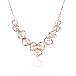 Wholesale Opal Pendant Rose Gold Chain - High Quality Fashion Luxury Rose Gold Plated Opal Zircon Flower Crystal Necklace Jewelry Gift For Women LKN18KRGPN926