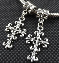 Tibetische reize kreuzen online-100PCS tibetanisches Silber Kreuz Charms Anhänger baumeln Perlen passen europäischen Armband 35mm