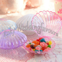 Wholesale Seashell Gift Boxes - FREE SHIPPING 50PCS Seashell Favor Boxes Bridal Shower Birthday Party Supplies Baby Shower Casamento Wedding Souvenir Gifts
