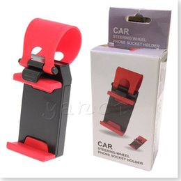 Wholesale Clip For Hands Free - Mobile Phone Holder Mount Clip Buckle Socket Hands Free on Car Steering Wheel Mount Clip Buckle Socket for iPhone 6 Plus Samsung galaxy S7